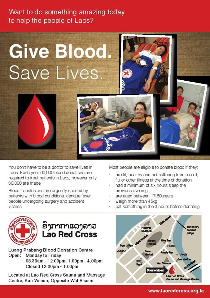 Red cross flyer in Luang Prabang - Give blood