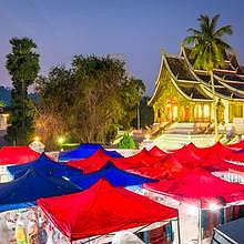 Center-town of Luang Prabang after 5pm
