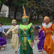 Parade of traditional costumes in Luang Prabang