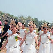During Vat Phou Festival, traditional processions