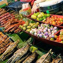 Street food and the caterers in Luang Prabang