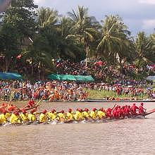 Boat racing in Luang Prabang - here on the Nam Khan