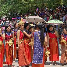 Traditional costumes during Pimay Laos
