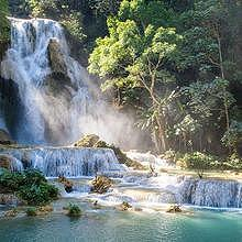 Kuang Si waterfalls in summer