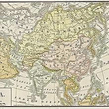 Asia, map in 1892