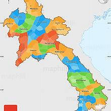 Politic map of Laos