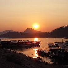 Sunset time in Luang Prabang on the Mekong River