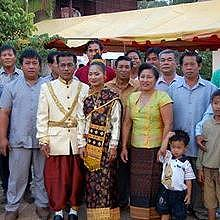 Marriage ceremony in Luang Prabang, in traditional costumes
