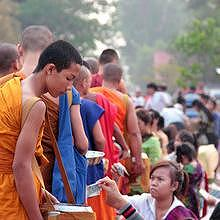 Very busy morning alms during the festival