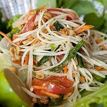 The famous Lao papaya salad, with Khiep Mou