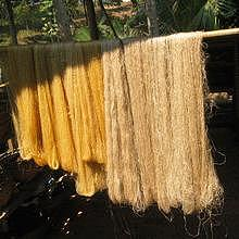 Silk before dyeing in Ban Xang Khong / Ban Xieng Lek
