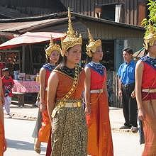 Traditional Lao dresses during a parade