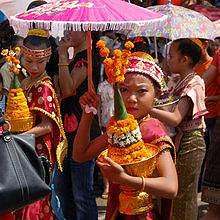 Young Lao during the Pimay parade in April in Luang Prabang