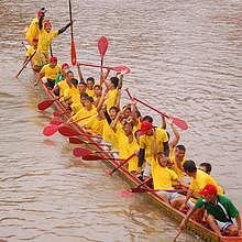Boat race in Luang Prabang during the rainy season
