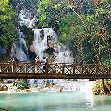 Kuang Si Waterfall in winter, pure fresh turquoise