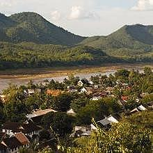 View on the Mekong River from the top of the Phousi Mountain