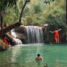Monks at Kuang Si Waterfalls