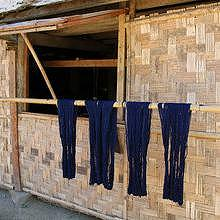 Indigo dyeing drying