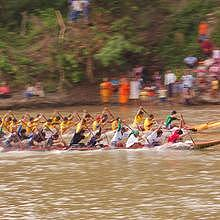 Boat race in Luang Prabang - competition between 2 villages