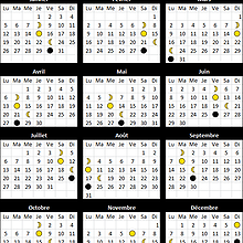 Moon calendar of Laos - 2013