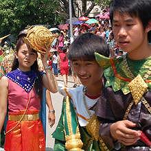 Traditional costumes during Pimay Lao