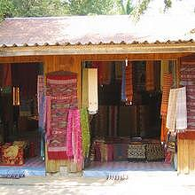 Shop of the weaving village of Ban Xang Khong