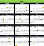 Moon Calendar with religious festivals in laos 2020 {PNG}