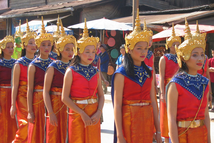 Lao Loum costumes during a parade in Luang Prabang